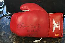 AUTOGRAPHED LEON SPINKS  BOXING GLOVE