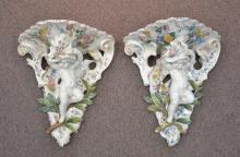 (Pr) LARGE FAIENCE CHERUB WALL BRACKETS