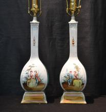 (Pr) HAND PAINTED PORCELAIN LAMPS WITH