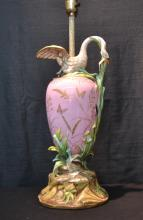 AESTHETIC PORCELAIN LAMP WITH SWAN , INSECTS &