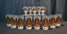 (13) BOHEMIAN CLEAR & AMBER CUT GLASS GLASSES