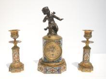 (3)pc BRONZE & CHAMPLEVE CABINET CLOCK SET