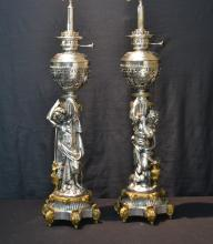 LARGE MATCHED (Pr) SILVERED BRONZE OIL LAMPS
