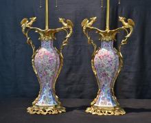 (Pr) BRONZE & CHINESE EXPORT PORCELAIN LAMPS