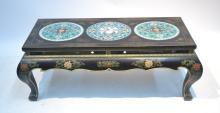 BLACK LACQUER COFFEE TABLE WITH (3) INSET