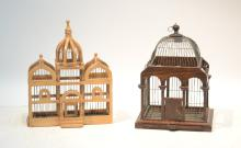 (2) WOOD BIRDCAGES - LARGER IS 12