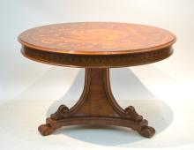ALFONSO MARINA , MARQUETRY INLAID CENTER TABLE