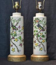 (Pr) HAND PAINTED PORCELAIN LAMPS WITH BIRDS &
