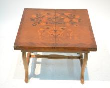 FLORAL MARQUETRY INLAID FOLD OUT COFFEE TABLE