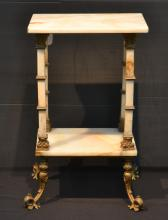 FRENCH 2-TIER ONYX & BRONZE STAND