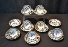 (7) ORIENTAL CUPS & (9) SAUCERS WITH