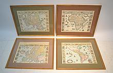 (4) FRAMED LITHOGRAPH MAPS OF AMERICA , ASIA,