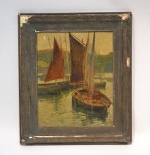 OIL ON PANEL OF BOATS IN HARBOR SIGNED