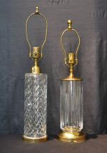 (2) WATERFORD CRYSTAL & BRASS TABLE LAMPS