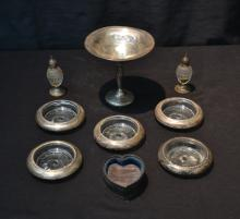 STERLING SILVER LOT - TAZZA , (5) COASTERS ,
