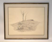 RICHARD SMITH , PENCIL DRAWING OF BOY IN MEADOW