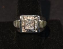 14kt WHITE GOLD & DIAMOND MANS RING ; APPROX.