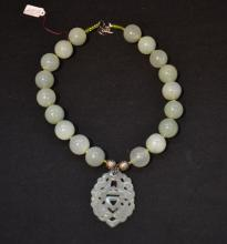 LARGE JADE BEADED NECKLACE WITH JADE PENDANT