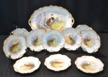 (11)pc HAND PAINTED LIMOGES PHEASANT SET WITH