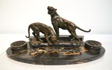 AUSTRIAN BRONZE & MARBLE DOUBLE INKWELL