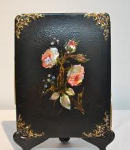 PAPER MACHE BOOK COVER WITH FLORAL MOTHER OF