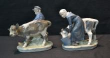 (2) ROYAL COPENHAGEN FIGURES OF WOMAN WITH COW &