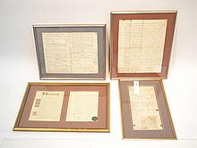 (4) 17thC - 18thC FRAMED ENGLISH WILLS WITH WAX