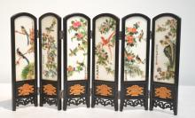 ORIENTAL TABLE TOP SCREEN WITH (5) PAINTED STONE