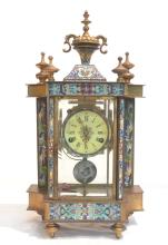 LARGE CLOISONNE CLOCK WITH FIGURAL MEDALLIONS