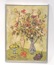 FLORAL & FRUIT STILL LIFE OIL ON CANVAS SIGNED