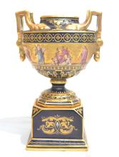 HAND PAINTED ROYAL VIENNA SCENIC VASE WITH