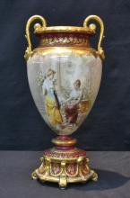 TWIN HANDLE ROYAL VIENNA STYLE VASE WITH