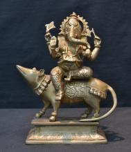BRONZE FIGURE OF LORD GANESH ON DOG