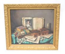 OIL ON CANVAS VIOLIN WITH BOW & BOOKS STILL LIFE