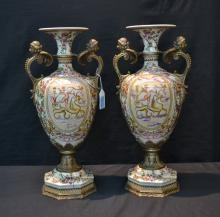 (Pr) CONTEMPORARY URNS WITH FIGURAL BRONZE