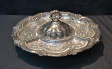 SILVER PLATE LAZY SUSAN WITH GLASS INSERTS