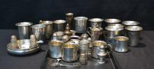 ASSORTED STERLING CUPS , BOWLS & SALT & PEPPERS