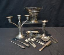 ASSORTED STERLING LOT INCLUDING CANDLESTICK ,