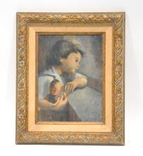OIL ON BOARD OF CHILD WITH DOLL SIGNED GREENE