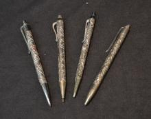 (3) ISRAEL STERLING SILVER BALL POINT PENS &