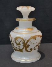 BOHEMIAN PERFUME BOTTLE WITH HEAVY GOLD