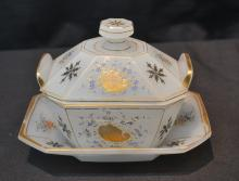 BOHEMIAN OPALINE COVERED BUTTER DISH WITH