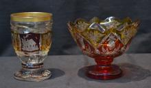 CASED GLASS BOHEMIAN BOWL & CUP - 5 1/2' x 4