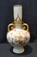 ROYAL WORCESTER TWIN HANDLE VASE ; DATED 1889