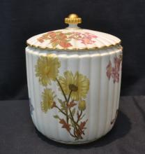 RIBBED ROYAL WORCESTER CRACKER JAR ; DATED 1889