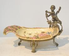 ZSOLNAY RETICULATED FLORAL DISH MOUNTED IN