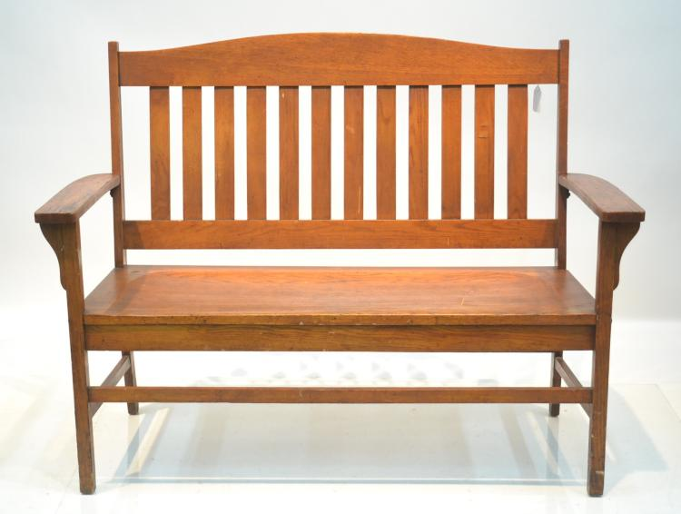 Mission Style Oak Bench 54 X 19 X 41 39