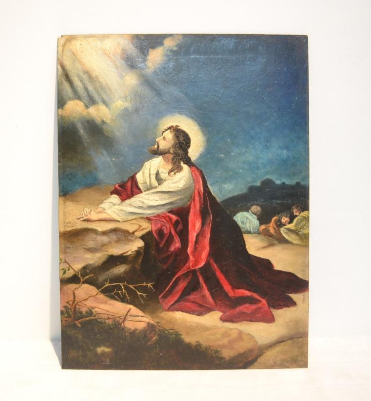 Jesus praying on the rock