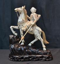 FINELY CARVED MAMMOTH IVORY WARRIOR ON HORSEBACK