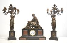 19thC FRENCH 2-TONE MARBLE CLOCK WITH